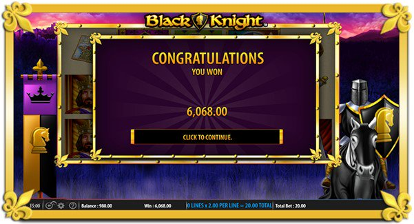 The Black Knight online slot notifies you when you win big