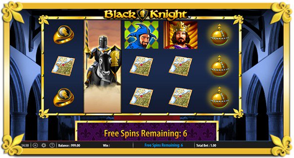 Earn up to 12 free spins when you play the Black Knight slot online
