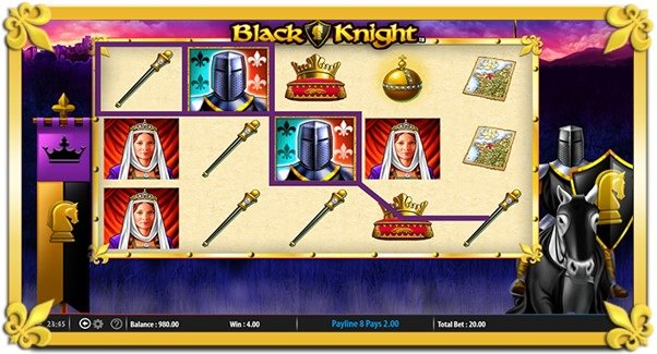 A win line marks out a winning paytable combination during a spin of the Black Knight slot