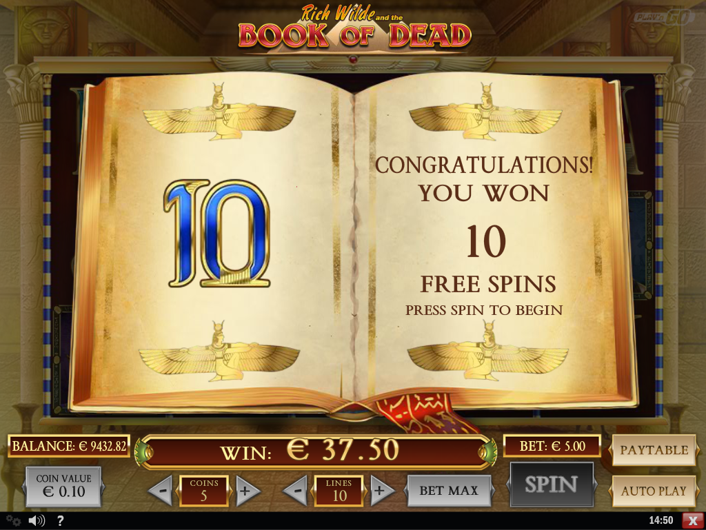 10 free spins offered by the golden book