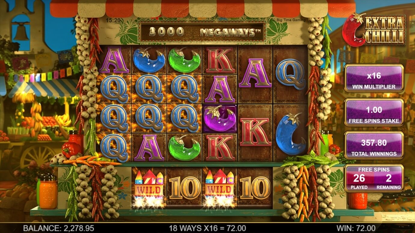 Extra Reel with Wilds in action on Big Time Gaming's Extra Chilli online slot