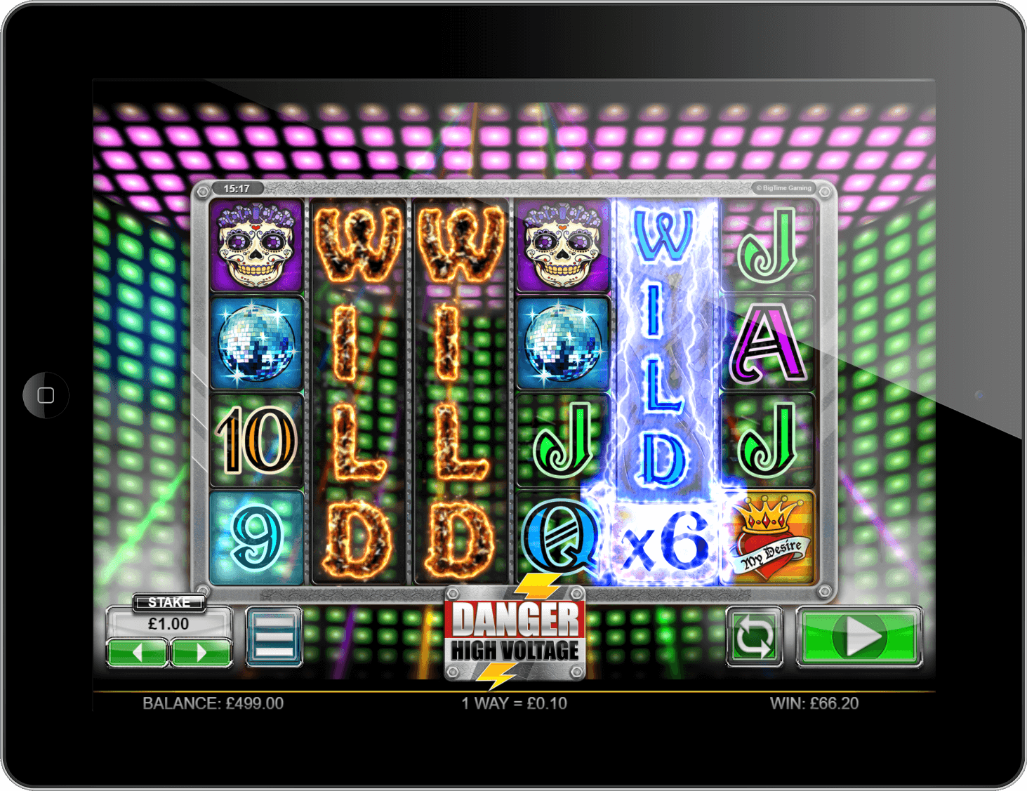 Experience the award-winning Danger! High Voltage slot on tablet at PlayOJO