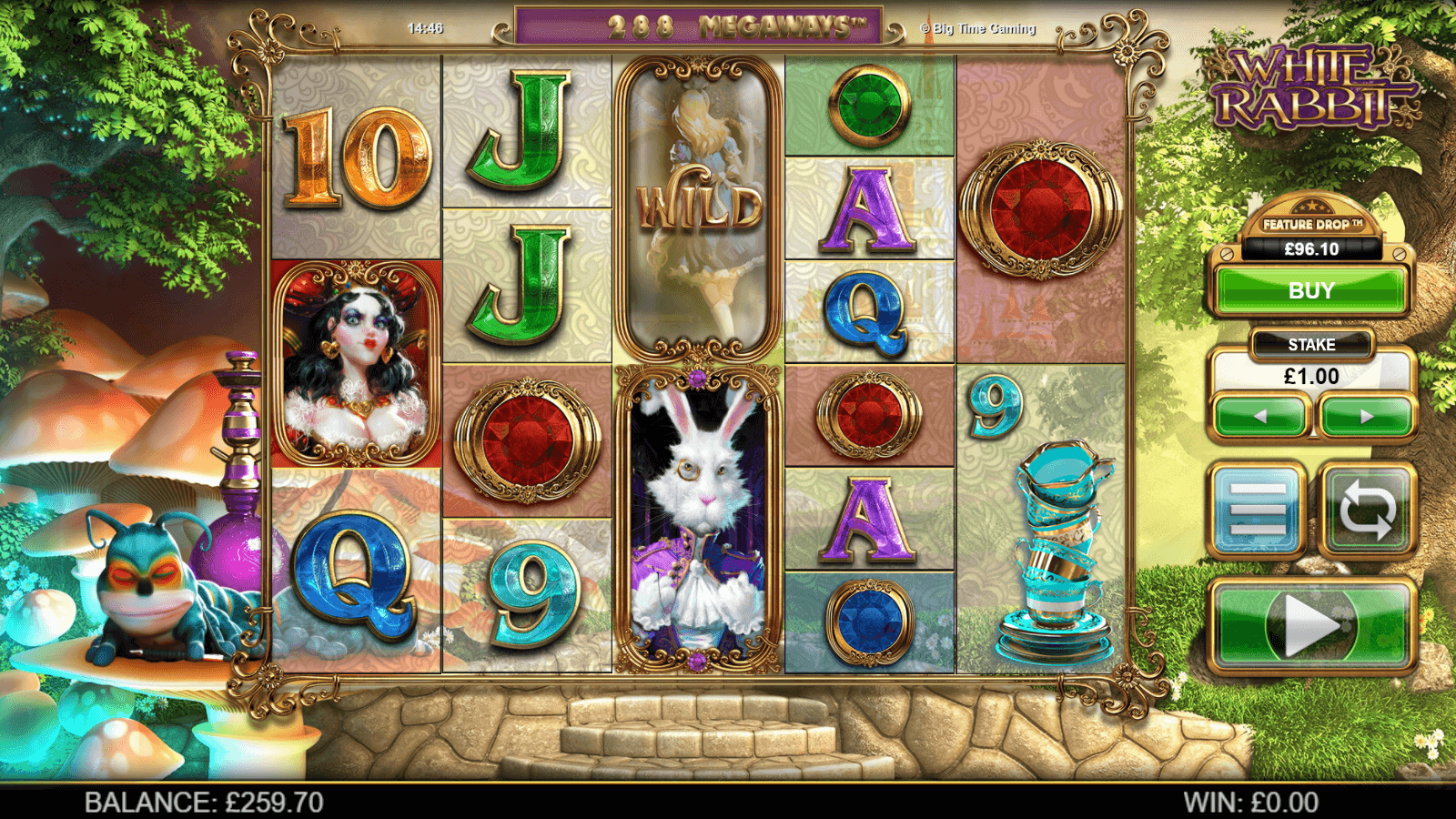 MegaWays in action on the Big Time Gaming White Rabbit slot