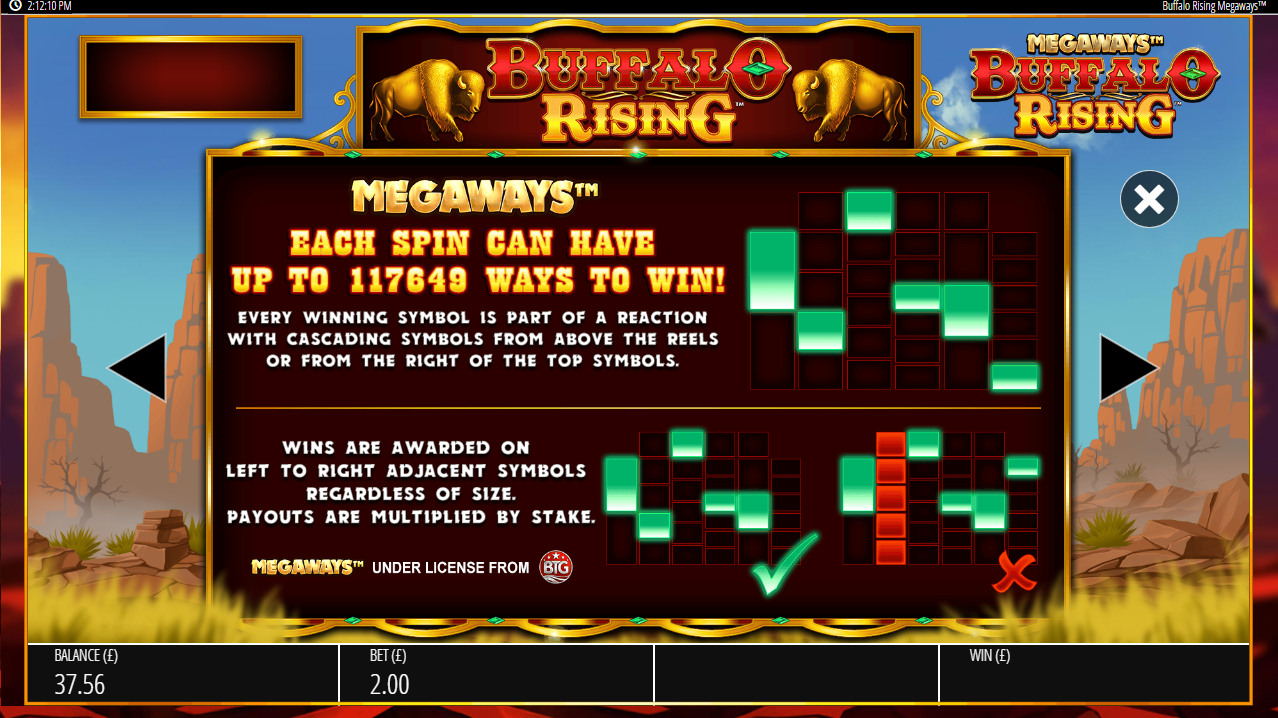 Megaways feature information from Buffalo Rising online slot game
