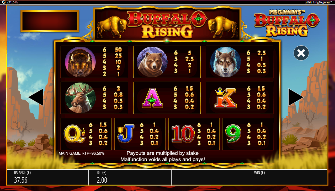 Paytable information explains how to win prizes in Buffalo Rising slot game