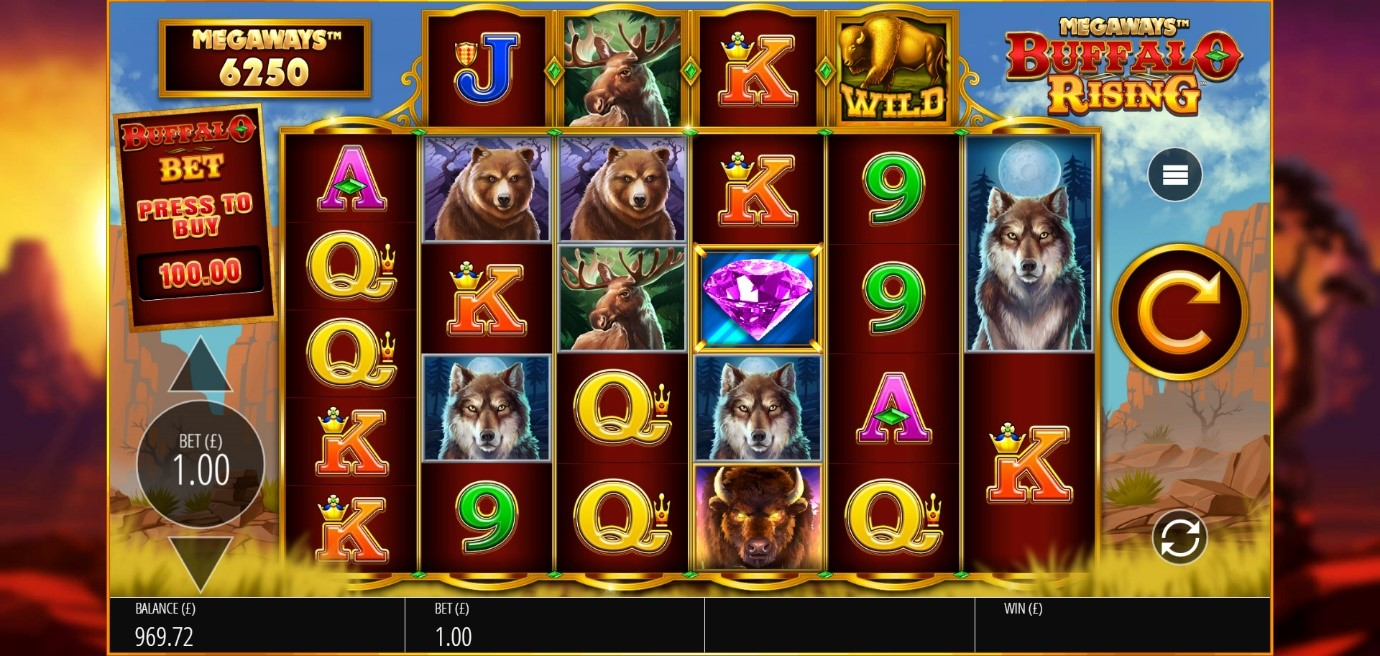 Megaways counter displays thousands of ways to win in Buffalo Rising online slot