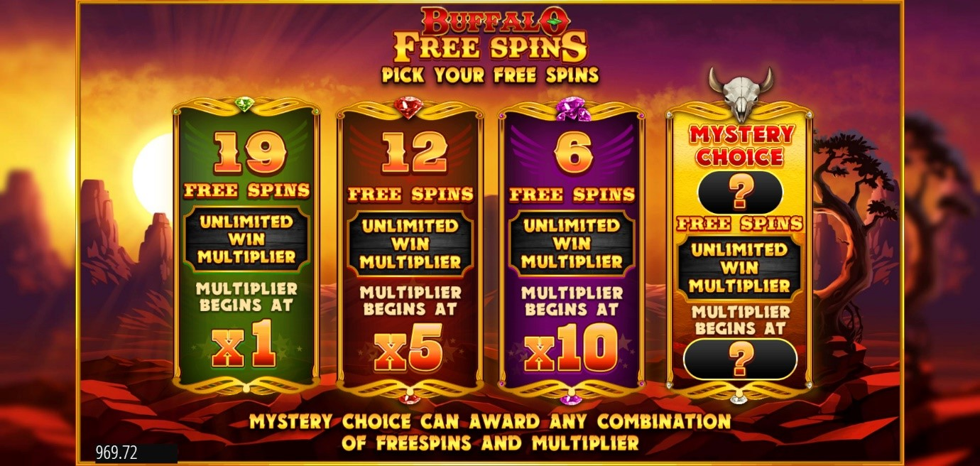 Choose from 4 different Free Spins Bonuses when you play Buffalo Rising slot online