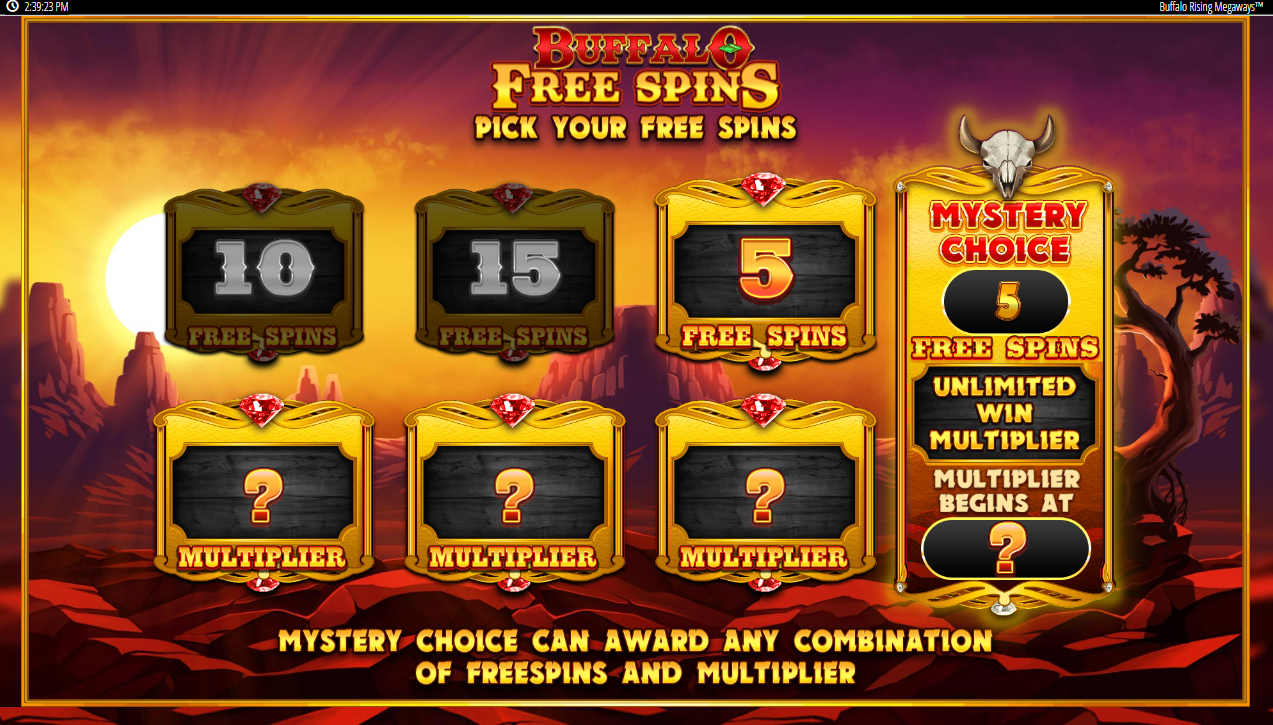 Reveal your Free Spins and Multiplier in the Buffalo Rising mystery option