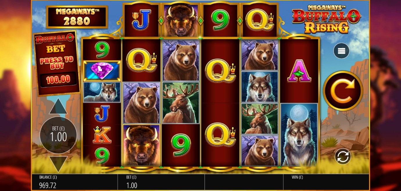 Buffalo Rising slot theme includes American animals and desert canyon background