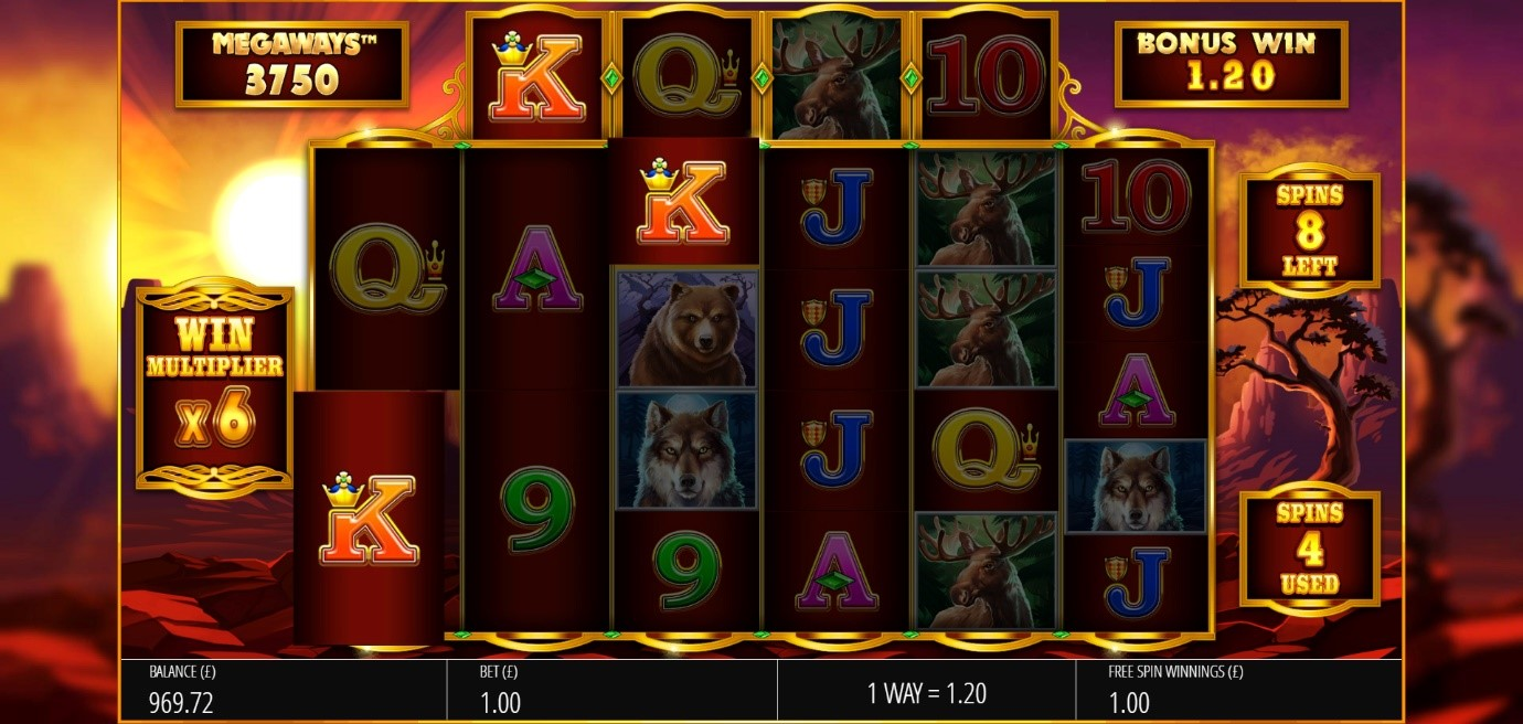 Symbols cascading to create win chains in Buffalo Rising online slot at PlayOJO