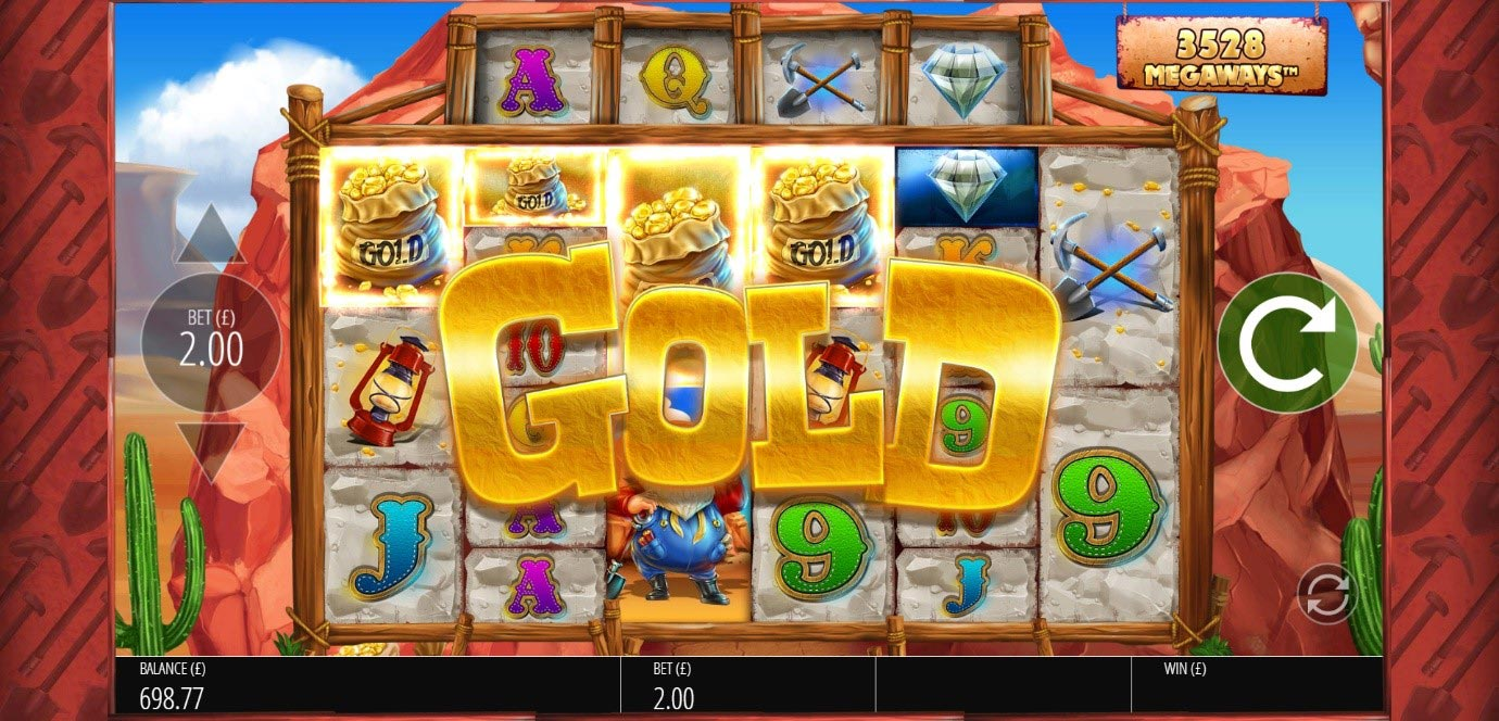 A player triggers the Free Spins bonus during the Diamond Mine slot at PlayOJO