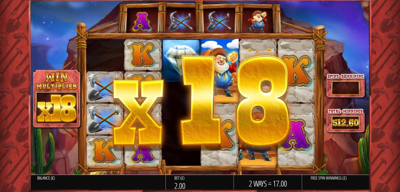 The Win Multiplier graphic rises to 18x during Diamond Mine slot Free Spins