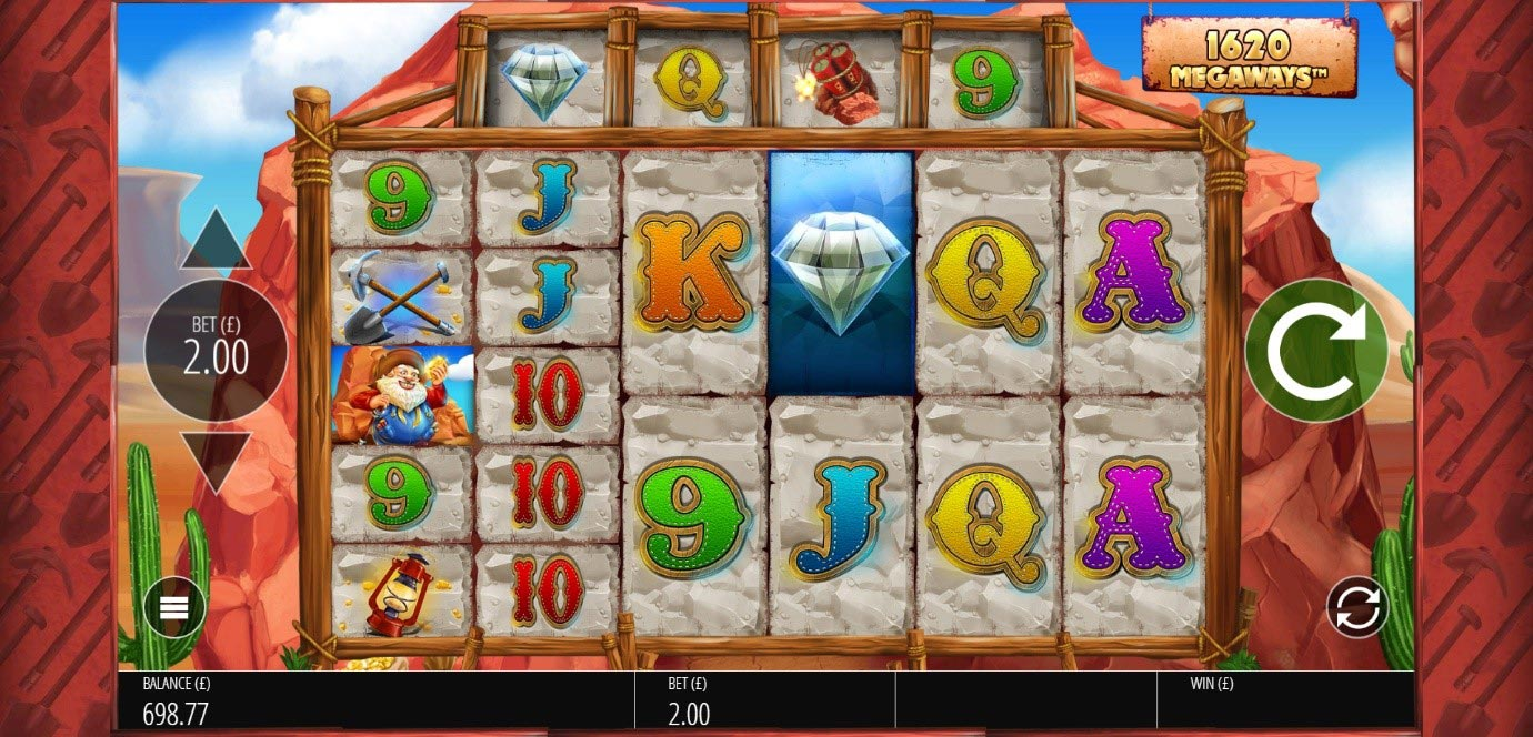 Reels display a variety of symbols for 1,620 paylines during a spin of PlayOJO's Diamond Mine slot game