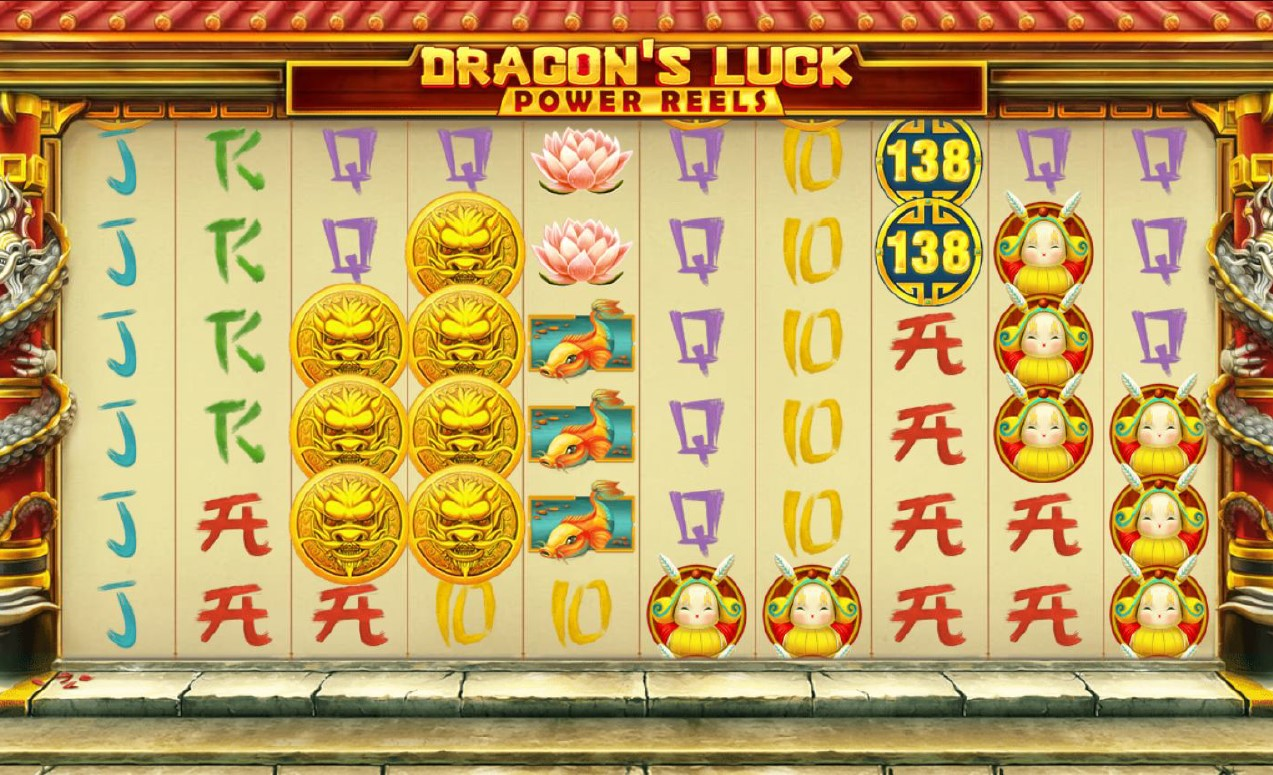 Dragon Coins and regular symbols in Dragon's Luck Power Reels slot by Red Tiger