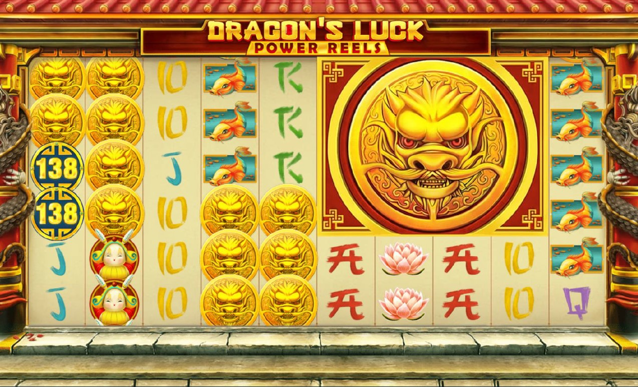 Mega Coin and Dragon Coin bonus features from Dragon's Luck Power Reels online slot