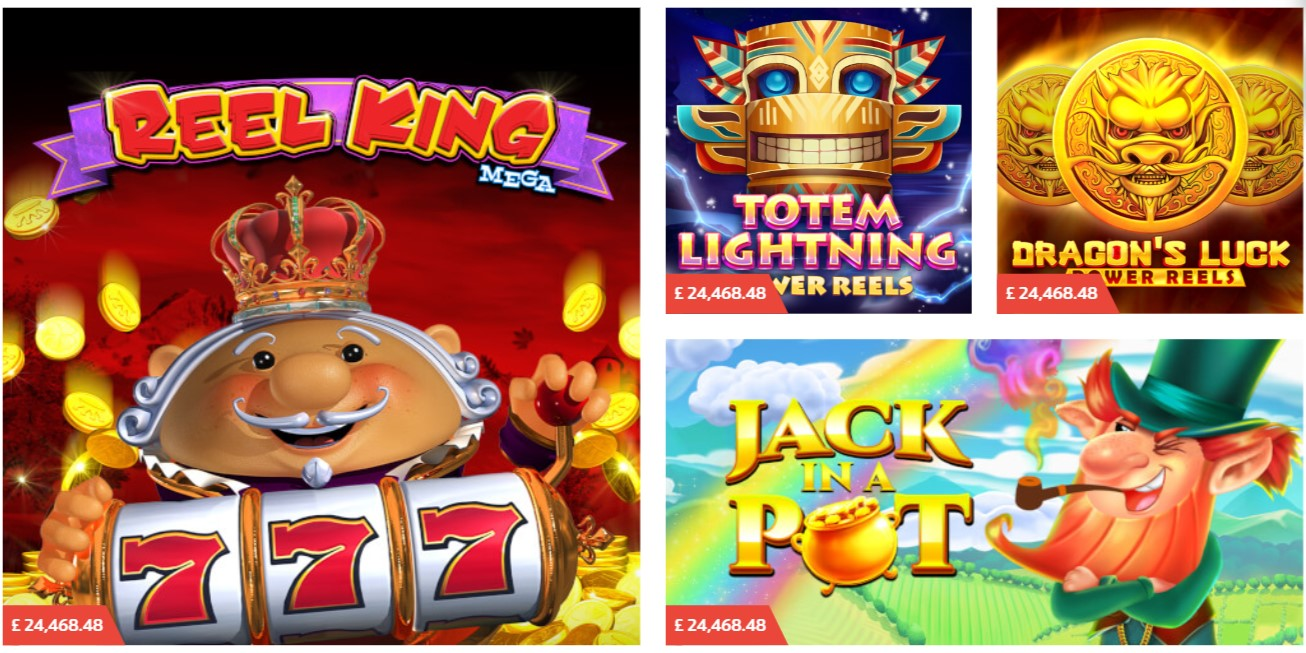 Screenshot of PlayOJO games lobby with Red Tiger jackpot games
