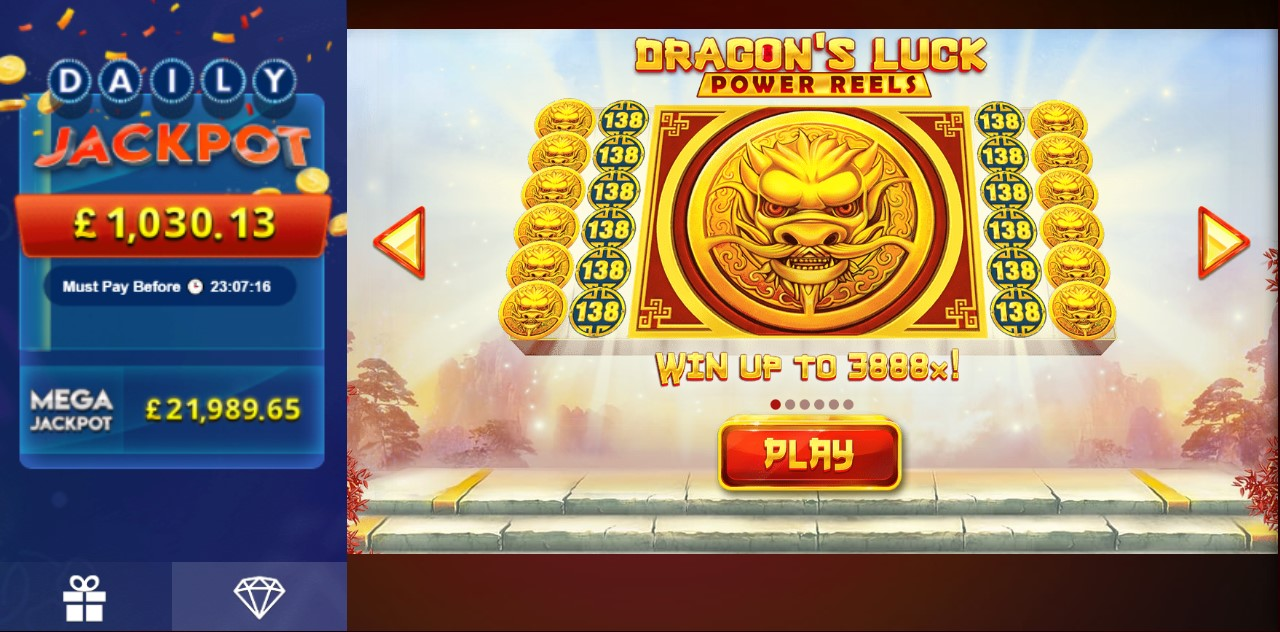 Jackpot info in Dragon's Luck Power Reels online slot