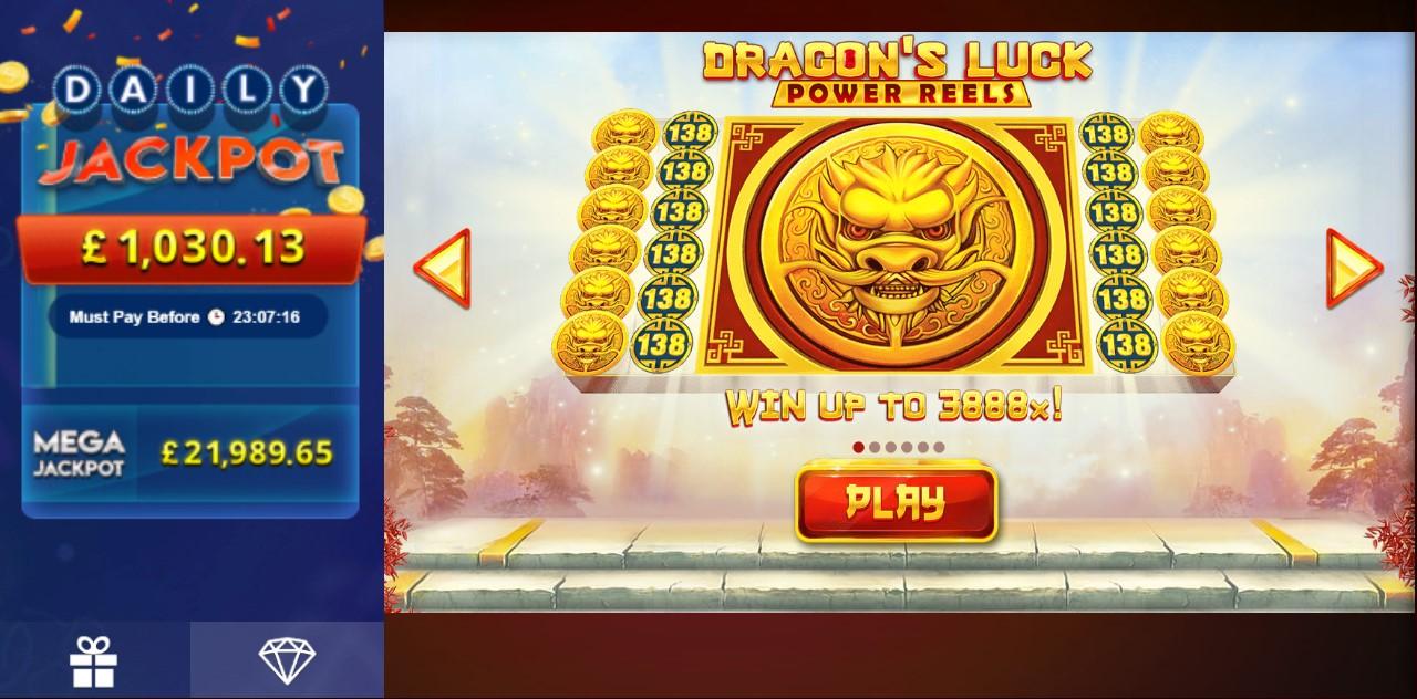 Jackpot info in Dragon's Luck Power Reels online slot