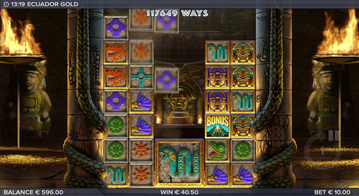 Cascading symbols in Ecuador Gold video slot with 117,649 ways to win