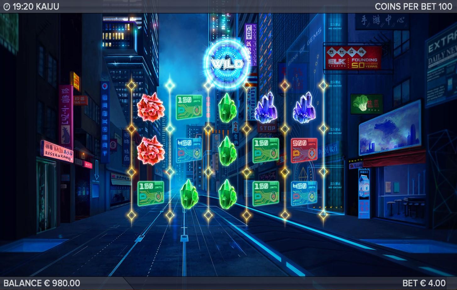 Unusual reel format in PlayOJO's Kaiju online slot game