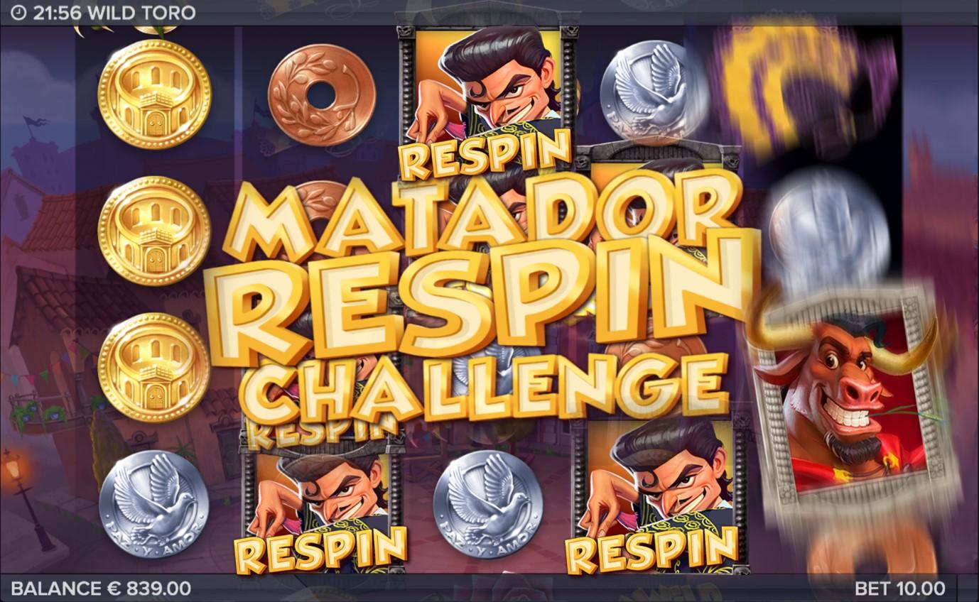 Matador Respin feature from award-winning Wild Toro online slot