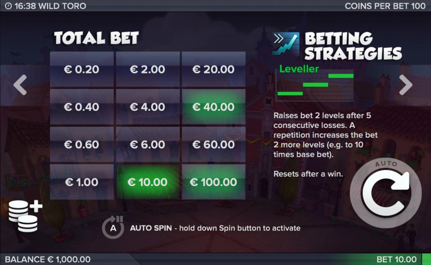 Betting Strategy screen from Wild Toro video slot by ELK Studios