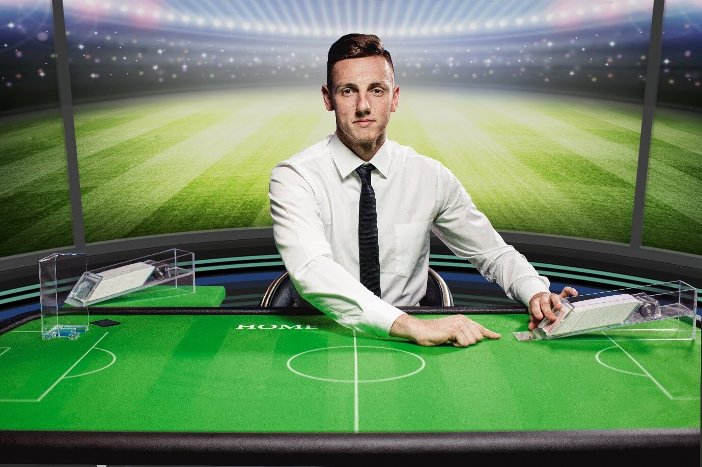 Dealer starting game of Football Studio live table game from Evolution Gaming