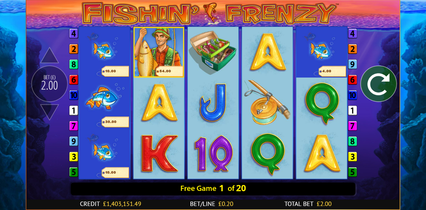 Fishin' Frenzy slot gives free games