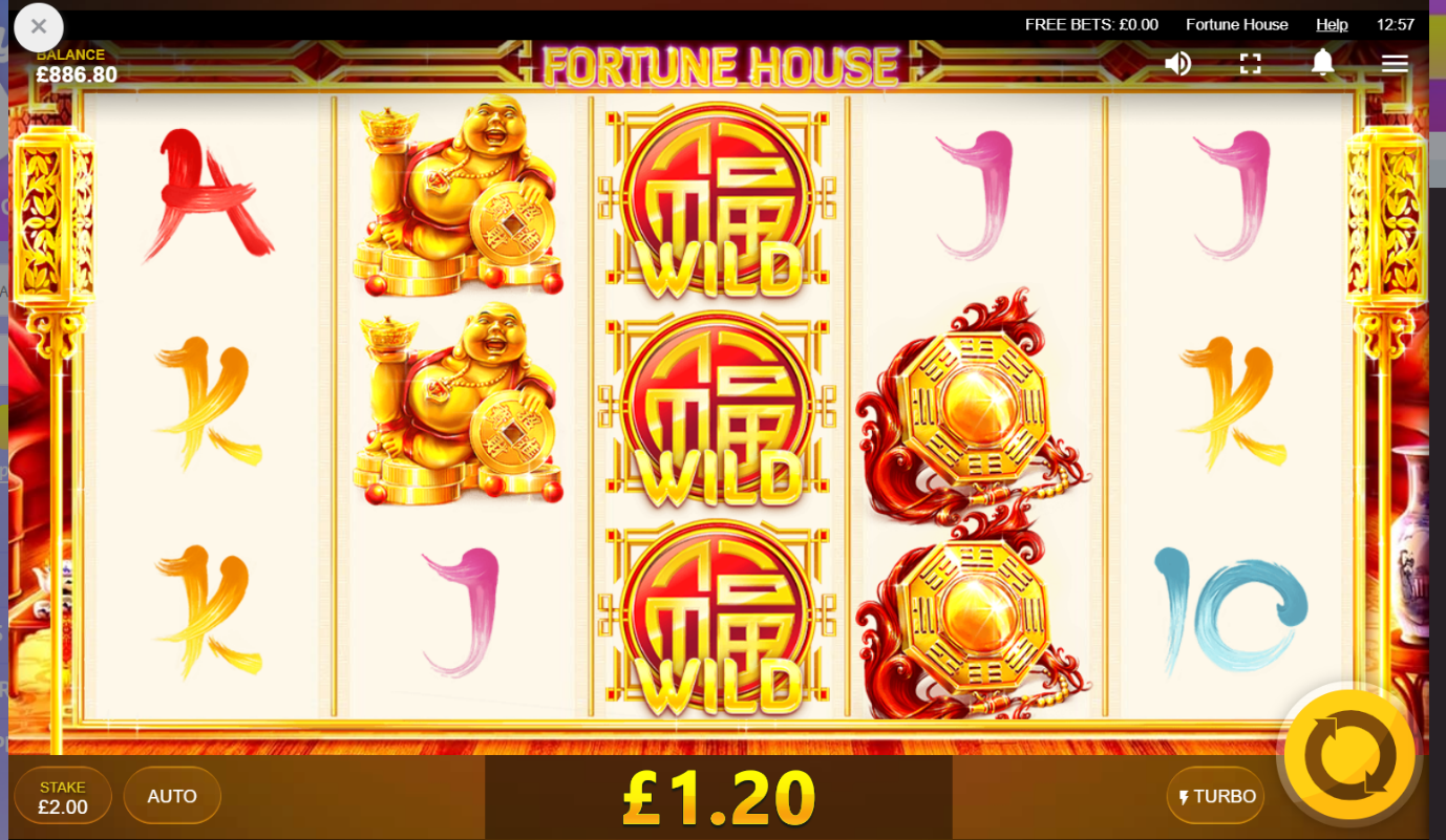 Fortune House online slot game screen with symbols