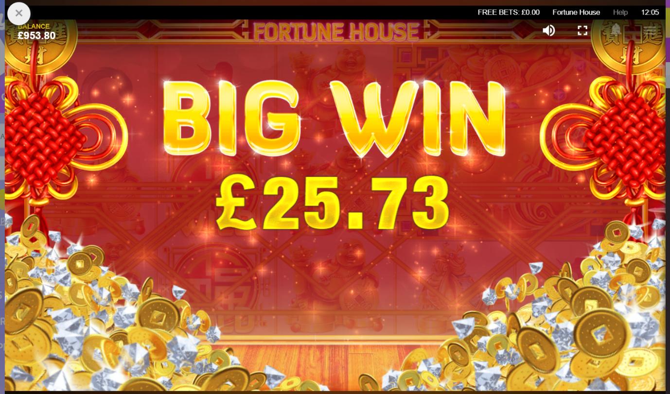 Fortune House video slot Big Win screen