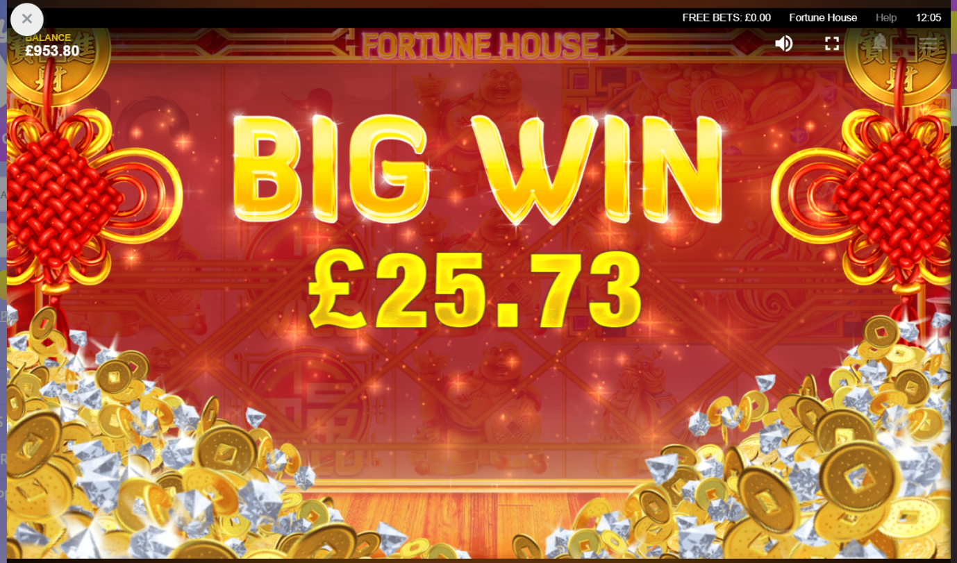 Fortune House video slot Big Win screen