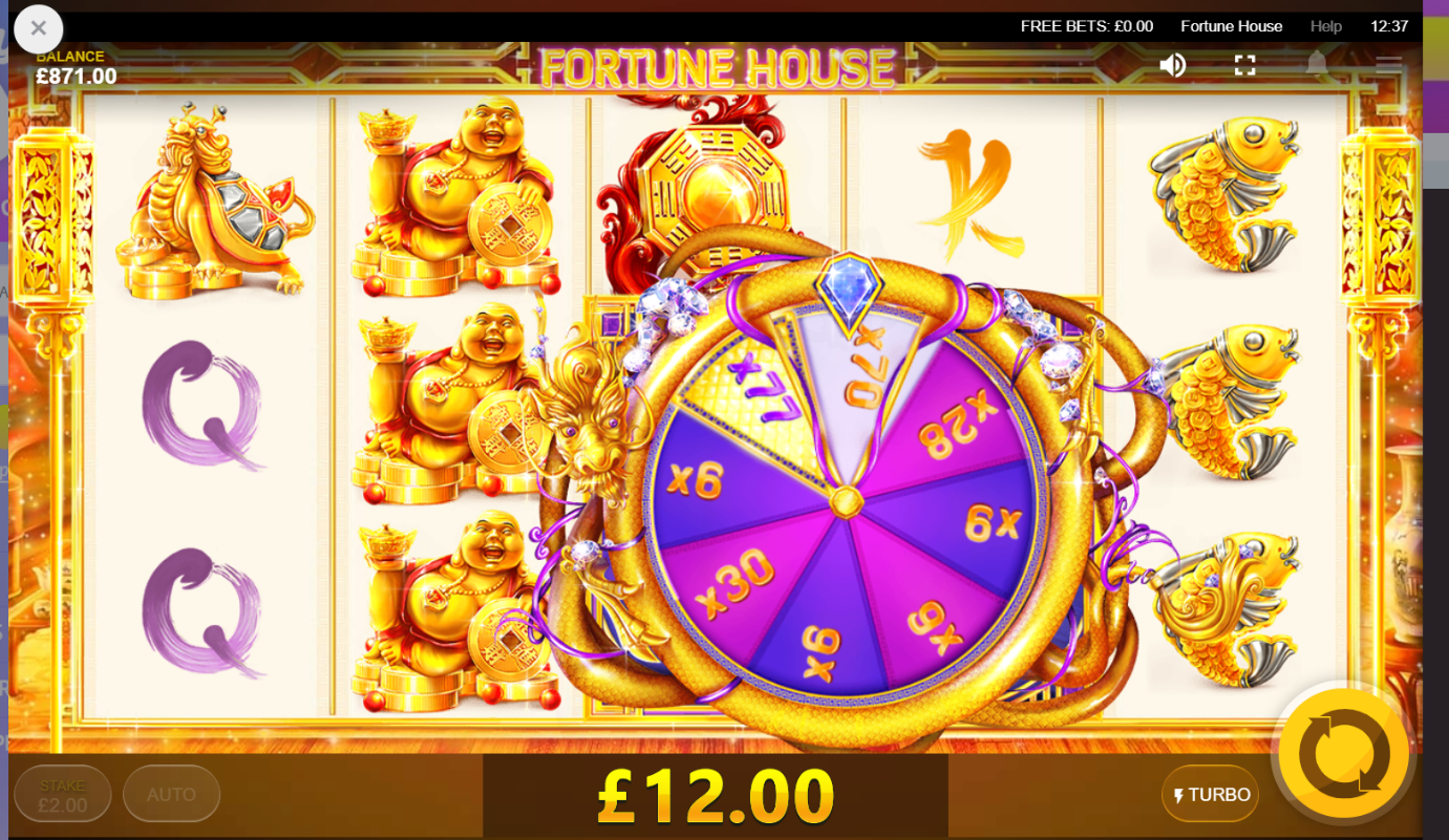 Dragon Wheel spinning to award prize multiplier on Fortune House slot