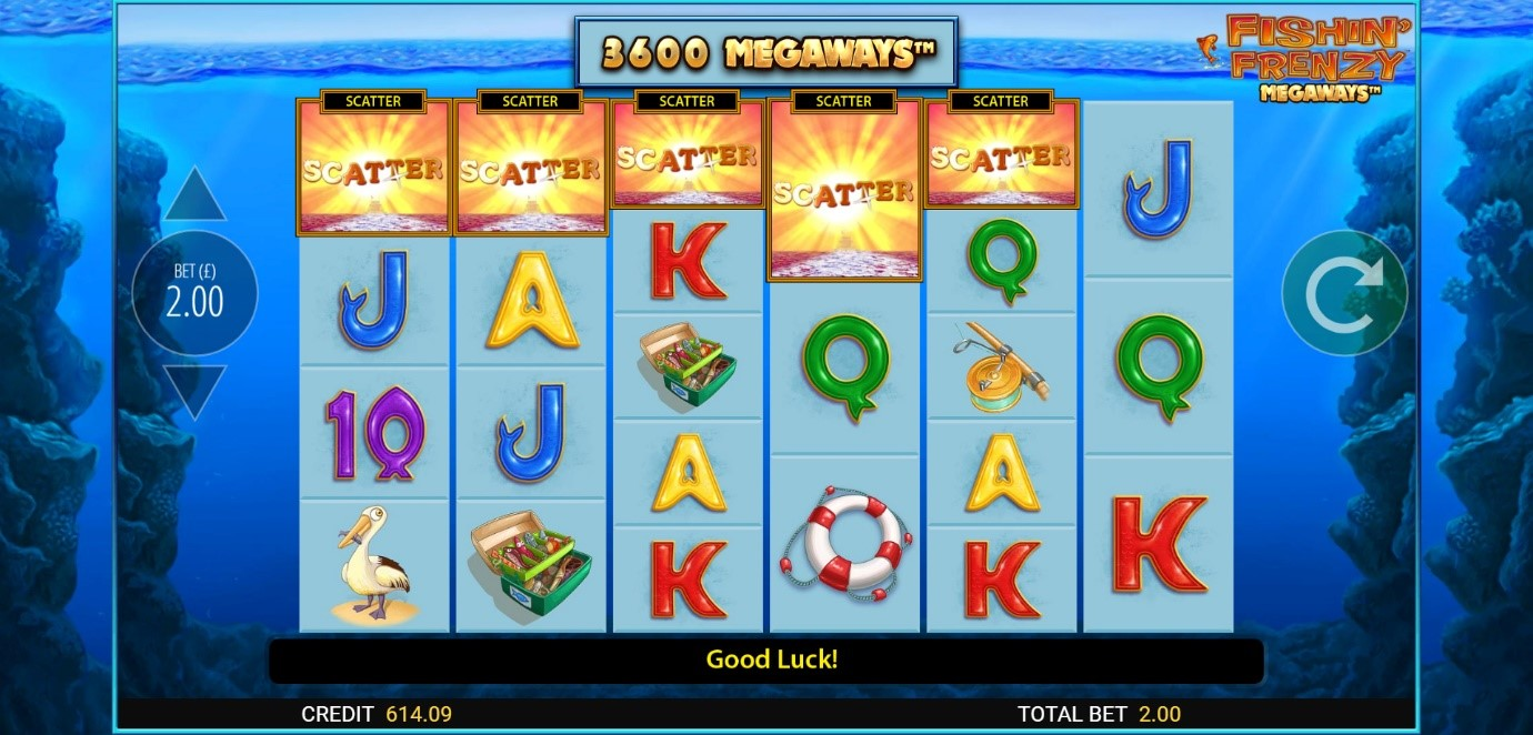 5 Scatter symbols triggers 25 Free Spins on Fishin' Frenzy slot online