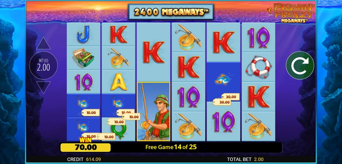 The Fisherman Wild feature nets a £70 win during a Fishin' Frenzy Megaways Free Spin