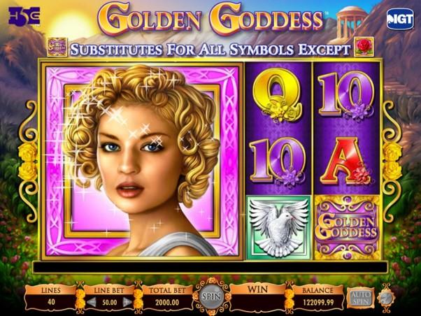 Super stacked goddess symbol awards a win during Golden Goddess slot game