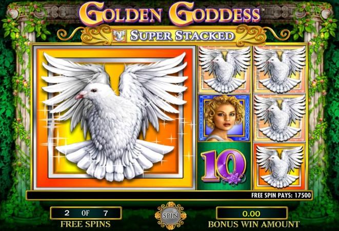 Land super stacked symbols for bigger wins during Golden Goddess free spins