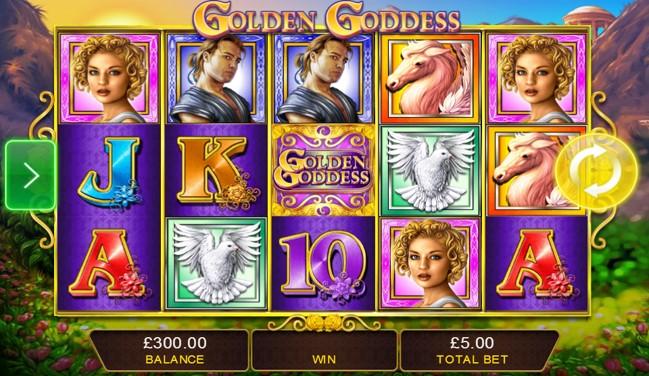 Goddess, warrior, horse and dove symbols in view during Golden Goddess mobile slot spin