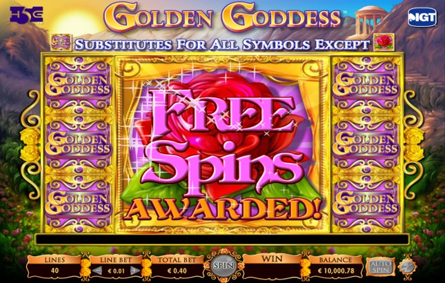 Wild symbols fill the reels to trigger the Free Spins bonus during the Golden Goddess slot game