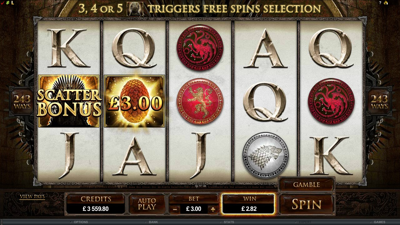 Scatters, Instant Wins & Free Spins - Game of Thrones slot game