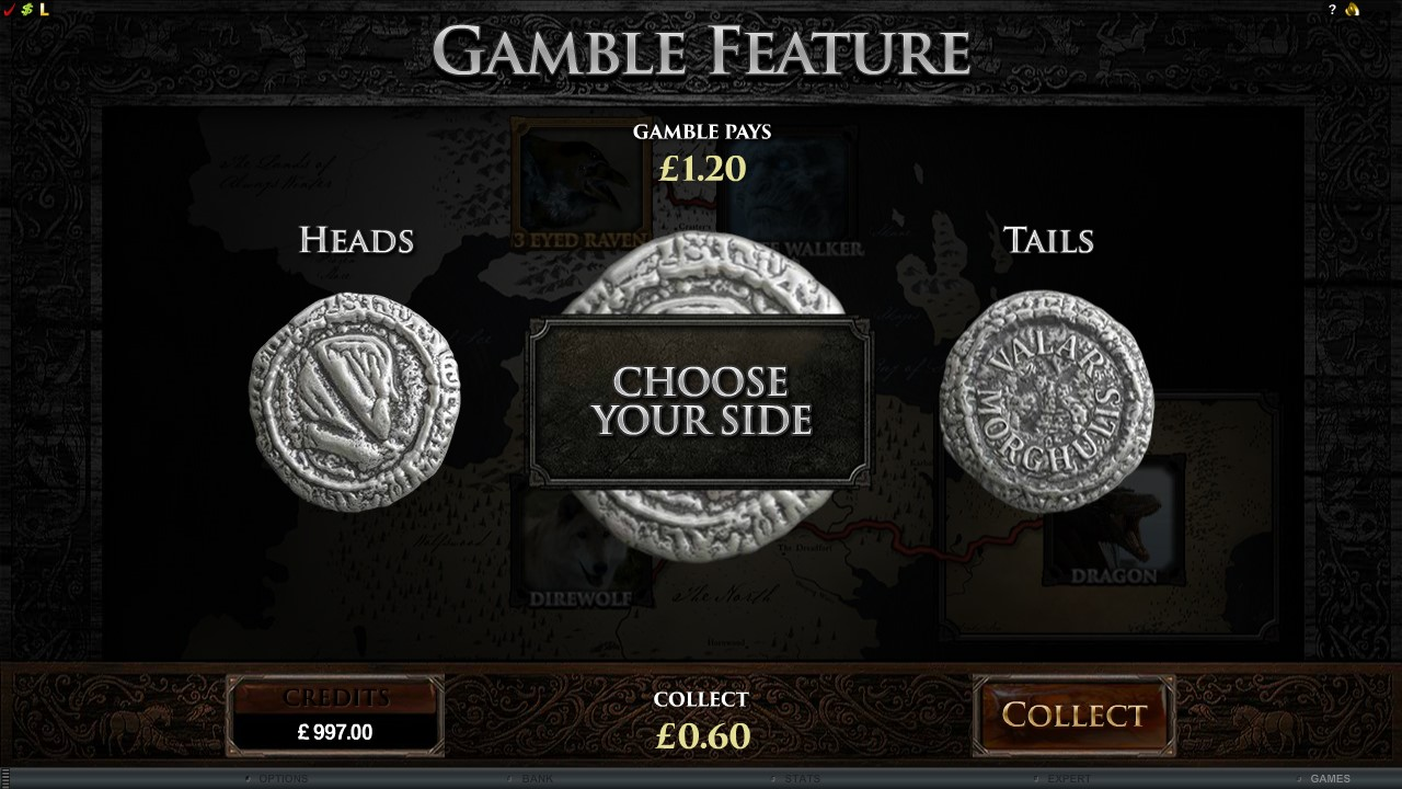 Choose your Gamble Feature - Game of Thrones slots game