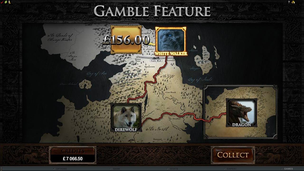 Gamble feature on Game of thrones slots game