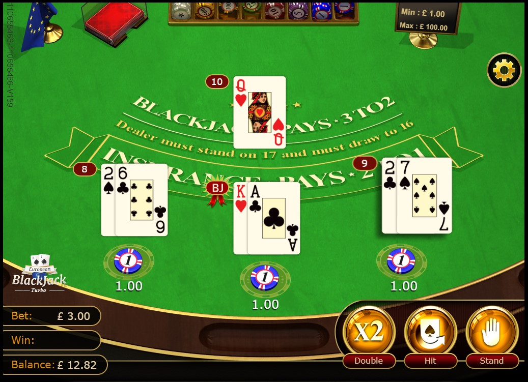 3 Hands in progress during GVG European Blackjack Turbo game