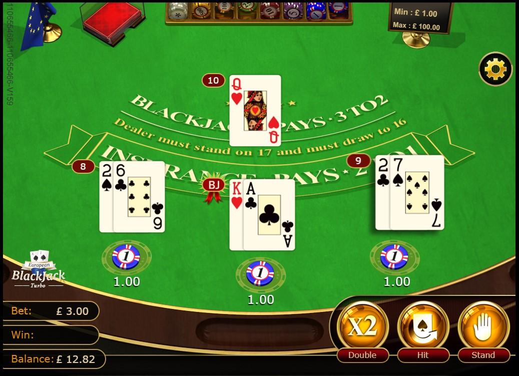 3 Hands in progress during GVG European Blackjack Turbo game