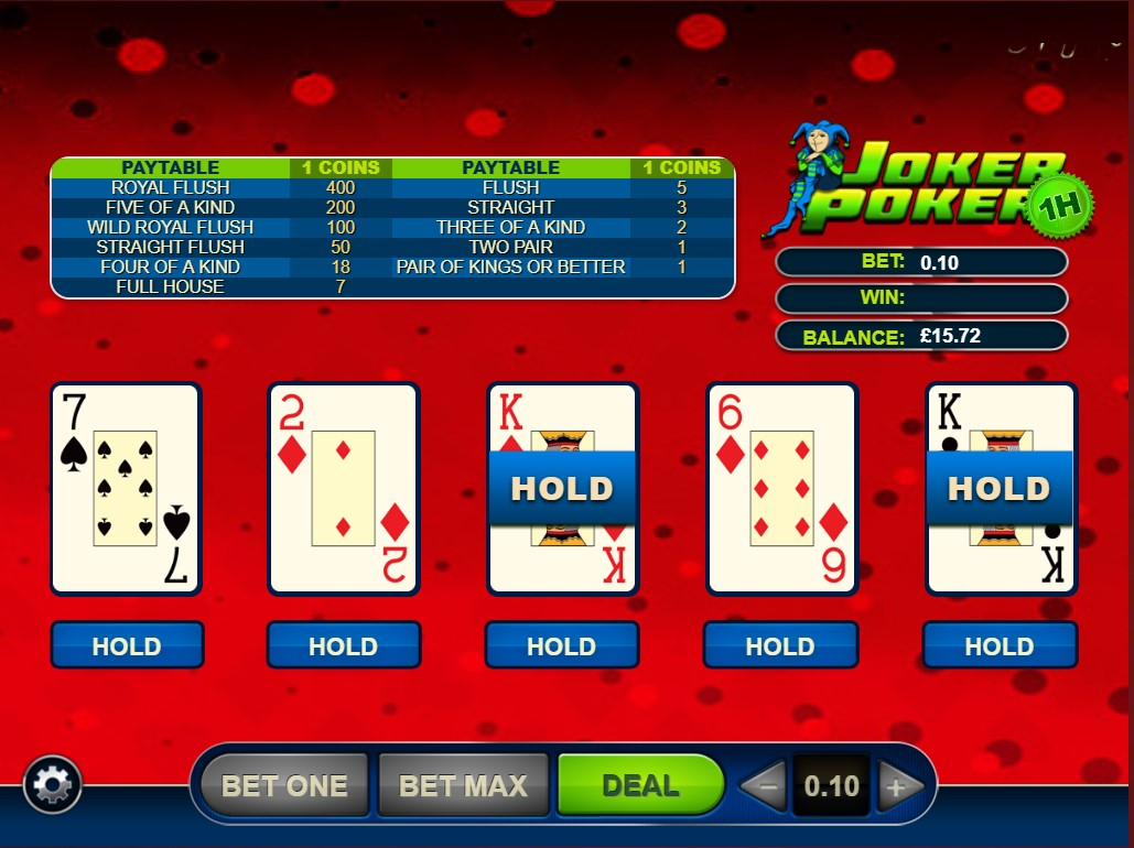 Joker Poker online game from GVG