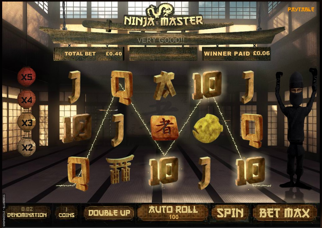 A Ninja Master online slot base game win