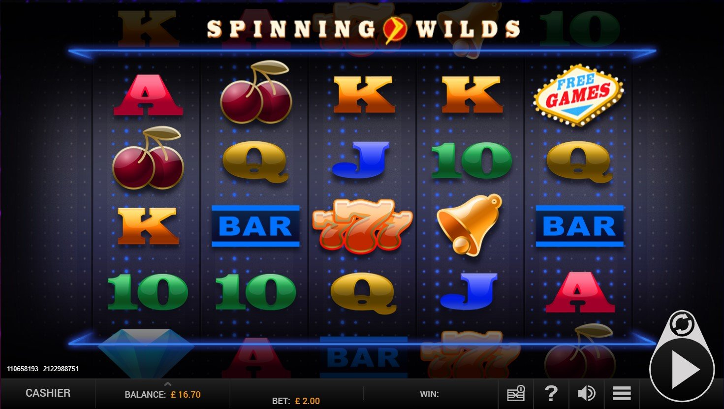 Spinning Wilds online slot at PlayOJO