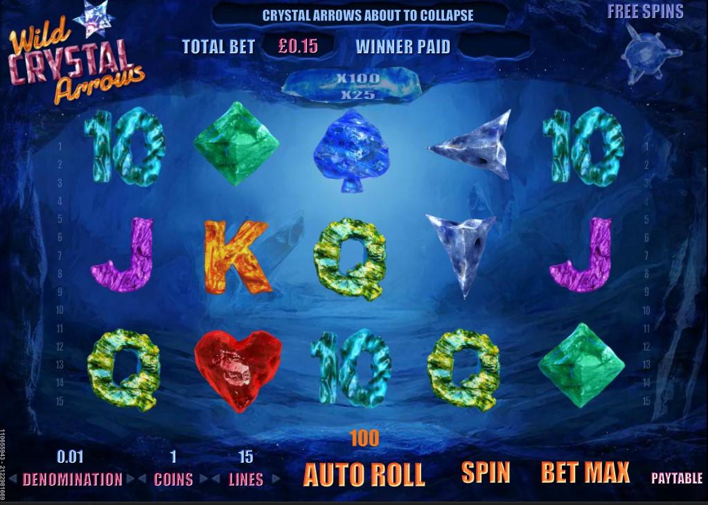 Floating reel symbol design in GVG's Wild Crystal Arrows online slot