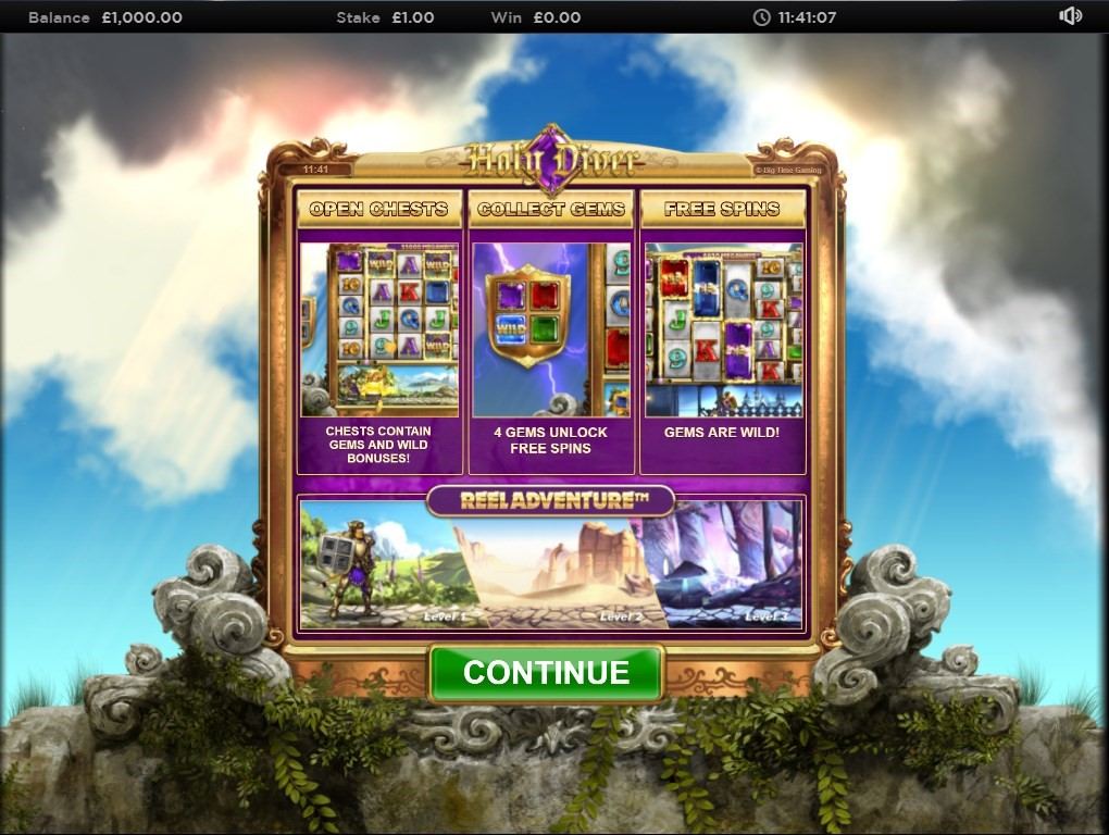 Holy Diver slot screenshot with guide to play including how to unlock Free Spins