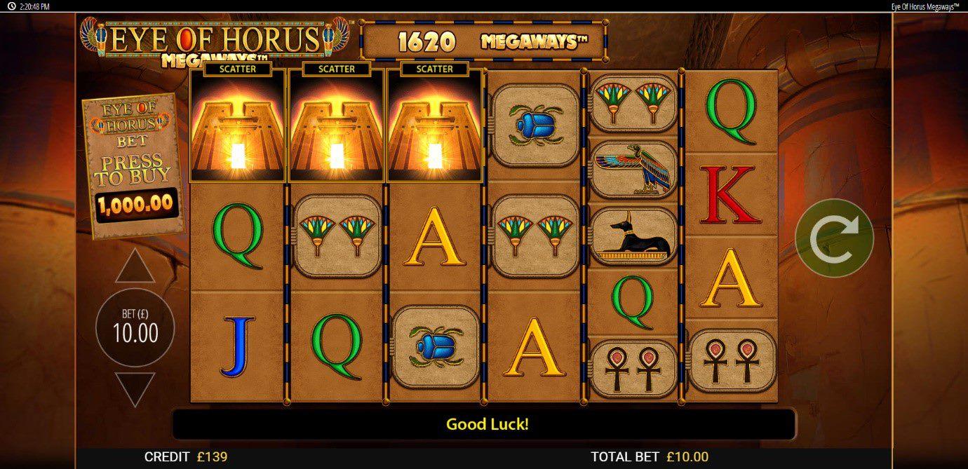 Land 3 scatters to trigger the Eye of Horus Megaways bonus game
