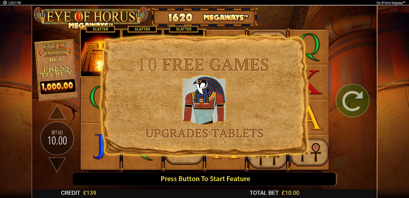 Bag bigger wins during the Eye of Horus Megaways Free Spins feature